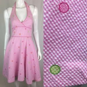 Lilly Pulitzer Gingham Check Embroidered Dress